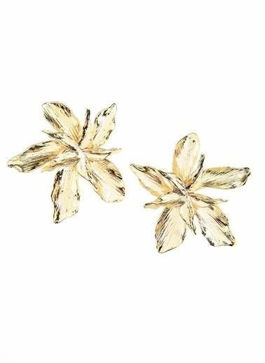 Monamoda Metal Çiçek Küpe Altın